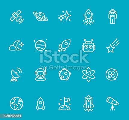 Pixel Perfect - Isolated on Blue - Space Icon Set #67 Icons are designed in 48x48pх square, outline stroke 2px.  First row of outline icons contains:  Satellite, Saturn, Star Shape, Ship Launch, Astronaut;   Second row contains:  Moonlight, Planet - Space, Start Up, Robot, Meteor;  Third row contains:  Satellite Dish, Cosmonaut, Moon, Atom, Solar System;   Fourth row contains:  Planet Earth, Rocket, Determination, Space Shuttle, Telescope.  Complete Bimico collection - https://www.istockphoto.com/collaboration/boards/t8tfiS1uqEecwP9AO9SJmw