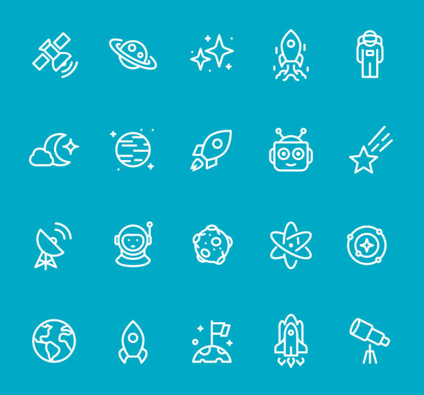 space - line icon set - moon stock illustrations, clip art, cartoons, & icons