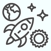 Space line icon. Universe with rocket, sun, planet and stars. Outer space symbols design, outline style pictogram on white background, use for web and app. Eps 10