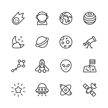Space Line Icons. Editable Stroke. Pixel Perfect. For Mobile and Web. Contains such icons as Comet, Asteroid, Astronaut, Space Suit, Planet Earth, Cosmos, Star, Telescope, Galaxy, Spaceship, Travel, Moon Landing, Alien, Artificial Intelligence, Rocket.