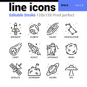 Space line icons set - Editable Stroke, Pixel perfect thin line vector icons for web design and website application.