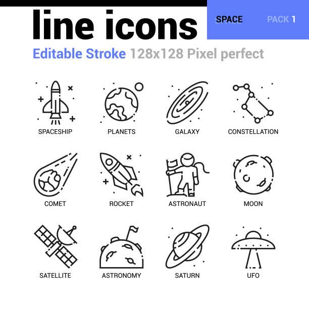 공간 라인 아이콘 설정-편집 선, 웹 디자인 및 웹 사이트 응용 프로그램에 대 한 픽셀 완벽 한 얇은 선 벡터 아이콘. - 우주 stock illustrations