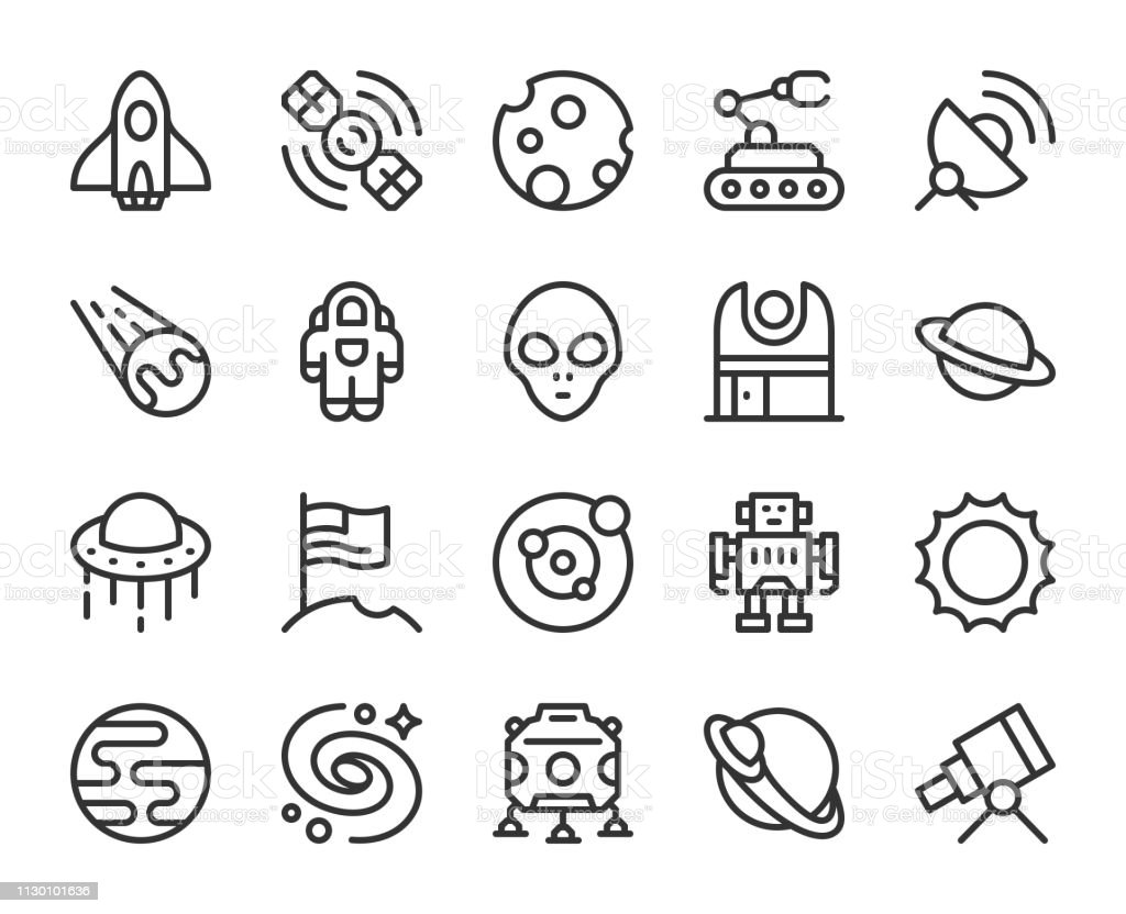 Space - Line Icons vector art illustration