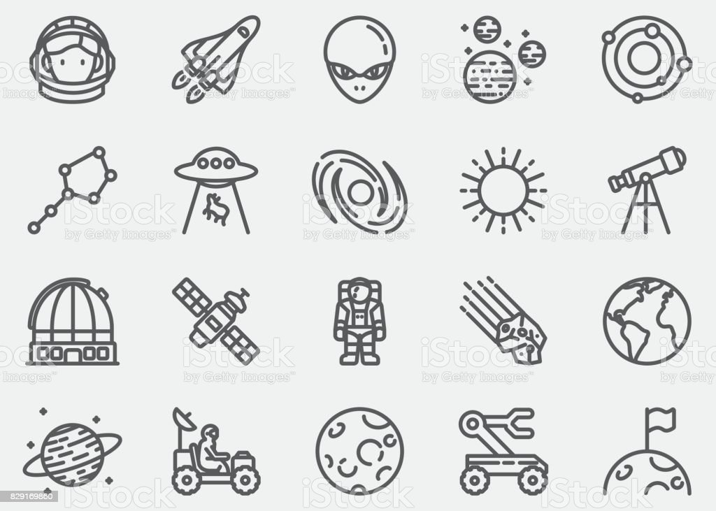 Space Line Icons vector art illustration