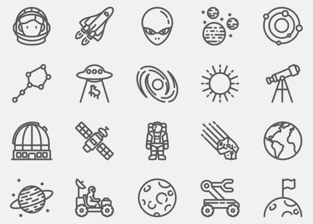 space line icons - astronomy telescope stock illustrations