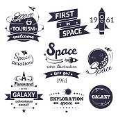 Space logo and label set