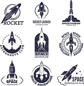 Space logotypes. Rockets and flight shuttle moon discovery business retro badges vector monochrome pictures. Illustration of spaceship and rocketship badge, adventure exploration