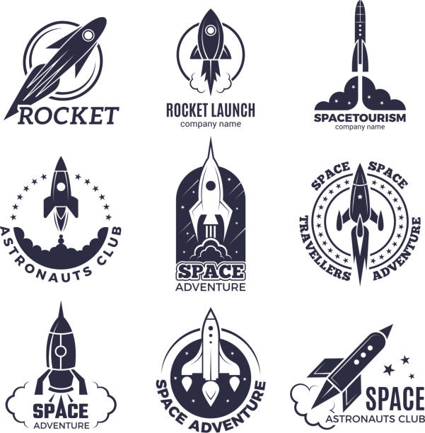 Space logotypes. Rockets and flight shuttle moon discovery business retro badges vector monochrome pictures Space logotypes. Rockets and flight shuttle moon discovery business retro badges vector monochrome pictures. Illustration of spaceship and rocketship badge, adventure exploration rocket stock illustrations