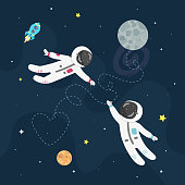 Space love vector illustration. Boy astronaut and girl astronaut fly to each other.