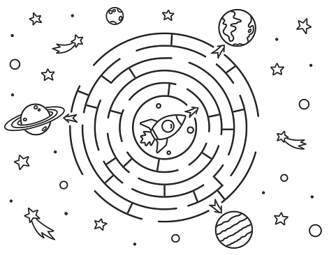 Space maze puzzle or Labyrinth game for kids