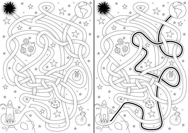 Labirinto de espaço - ilustração de arte em vetor