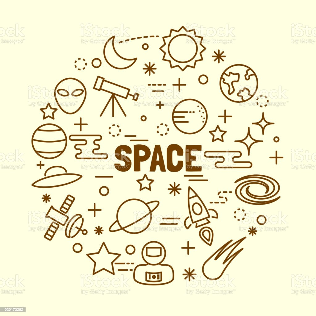 space minimal thin line icons set stock vector art & more images of