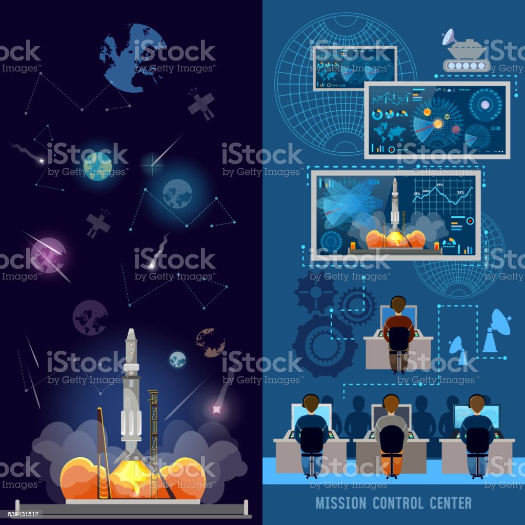 Space mission control center banner, start rocket in space vector art illustration