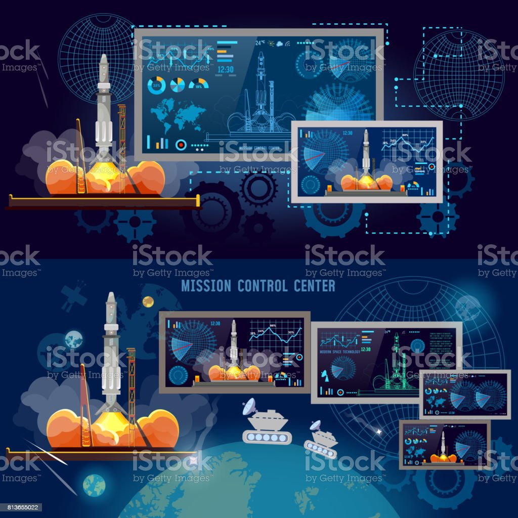 Space Mission Control Center,  Space shuttle taking off on mission, spaceport, start rocket in space. Modern space technologies, return report of start of rocket vector art illustration