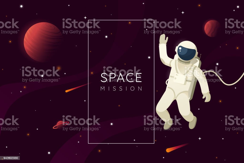 Space mission vector illustration. Astronaut in outer space and waves hand. Space background with frame and place for text. Eps 10. - illustrazione arte vettoriale