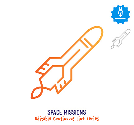 Space Missions Continuous Line Editable Stroke Icon