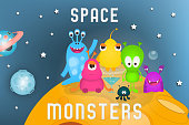 Space Poster - Cartoon Aliens and Galaxy Monsters on Moon. Travel Concept. Vector Illustration.