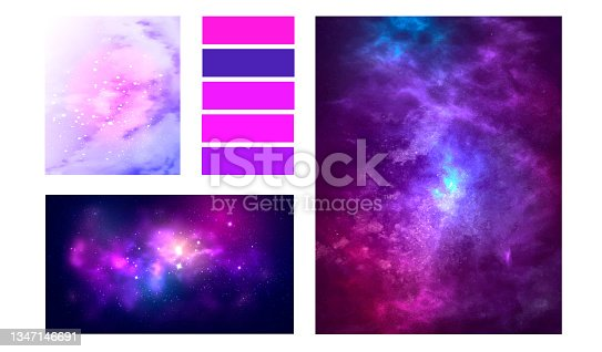 istock Space moodboard collage of vector illustrations. Purple galaxy layout for presentation 1347146691