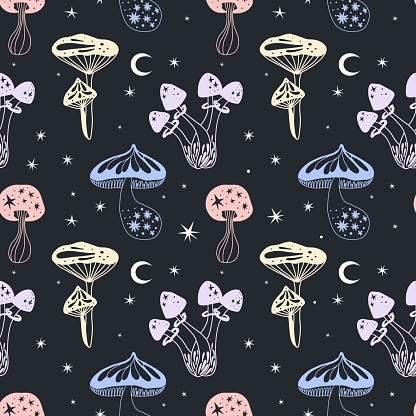 Space mushrooms seamless pattern. Hand drawn line pastel colored mushroom collection. Cosmos, magic or forest doodle plants, fantastic decor textile, wrapping paper wallpaper vector print or fabric