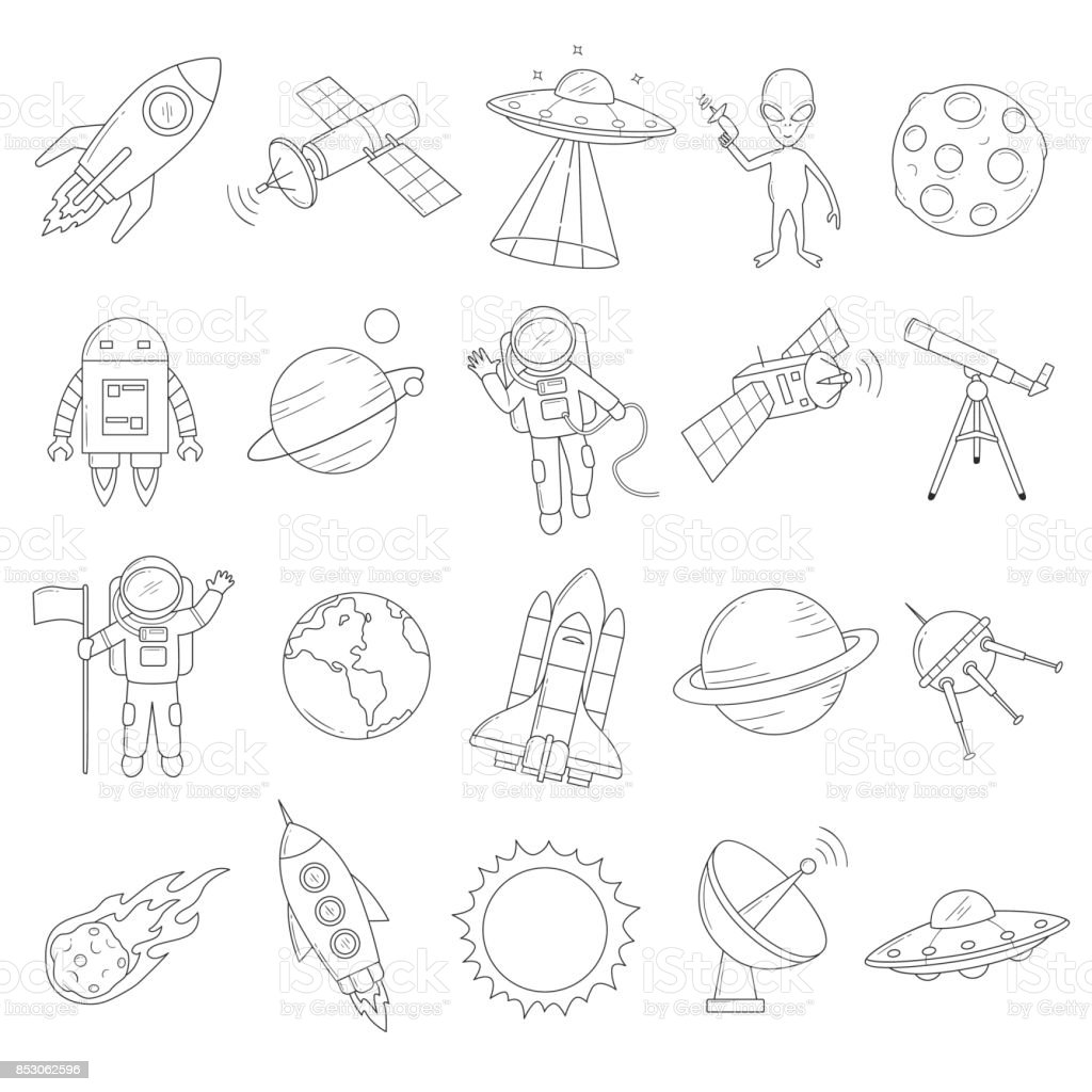 Space Object Vector Set vector art illustration