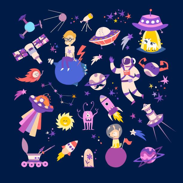 иллюстрации вектора сбора космических объектов - space background stock illustrations