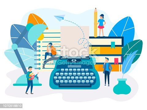 Space of creative work, concept of inspiration, literary creativity. Vector illustration for social media, web design, posters.