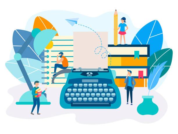 raum der kreativen arbeit, konzept der inspiration, literarische kreativität - editorial stock-grafiken, -clipart, -cartoons und -symbole
