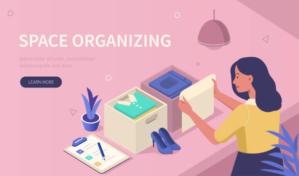 stockillustraties, clipart, cartoons en iconen met ruimte organiseren - opruimen