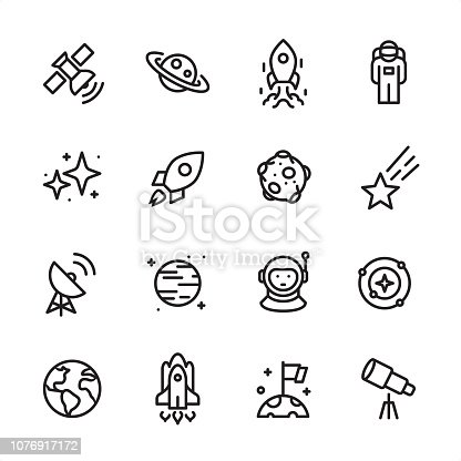 16 line black on white icons / Set #69 Pixel Perfect Principle - all the icons are designed in 48x48pх square, outline stroke 2px.  First row of outline icons contains:  Satellite, Saturn, Ship Launch, Astronaut;  Second row contains:  Starry sky, Rocket, Asteroid, Meteor;  Third row contains:  Radio Telescope, Planet - Space, Cosmonaut, Solar System;   Fourth row contains:  Planet Earth, Space Shuttle, Landing on Mars, Telescope.  Complete Inlinico collection - https://www.istockphoto.com/collaboration/boards/2MS6Qck-_UuiVTh288h3fQ