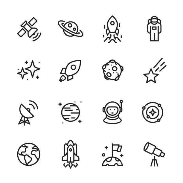 Space - outline icon set 16 line black on white icons / Set #69 Pixel Perfect Principle - all the icons are designed in 48x48pх square, outline stroke 2px.  First row of outline icons contains:  Satellite, Saturn, Ship Launch, Astronaut;  Second row contains:  Starry sky, Rocket, Asteroid, Meteor;  Third row contains:  Radio Telescope, Planet - Space, Cosmonaut, Solar System;   Fourth row contains:  Planet Earth, Space Shuttle, Landing on Mars, Telescope.  Complete Inlinico collection - https://www.istockphoto.com/collaboration/boards/2MS6Qck-_UuiVTh288h3fQ planet space stock illustrations