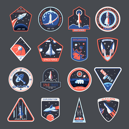 Space patches, galaxy exploration spaceship badges
