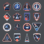 istock Space patches, galaxy exploration spaceship badges 1199402736