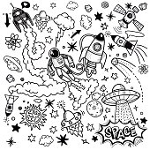 space pattern hand drawing illustration vector
