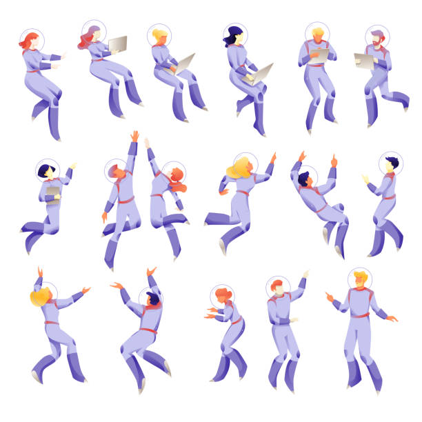 Space People Characters on White Background Space people characters in space suits. Floating working people set on white background. Business metaphor of working space. Isolated vectors. astronaut floating in space stock illustrations