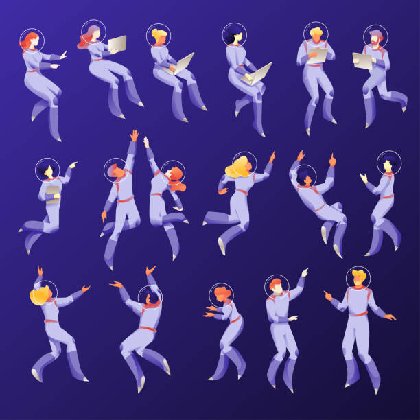 Space People Characters Space people characters in space suits. Floating working people set on a navy-blue background. Business metaphor of working space. Isolated vectors. astronaut floating in space stock illustrations