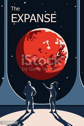 Flat vector space poster with astronauts looking at distant red planet