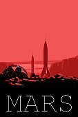 Mars exploration program poster. Rover, station and space shuttles on unexplored planet.