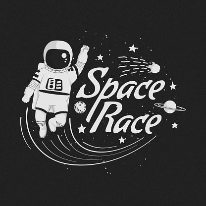 Space race vector illustration, poster, t-shirt design. Monochrome cartoon astronaut flying with raised fist with planets, constellations, comet and stars on a dark background.