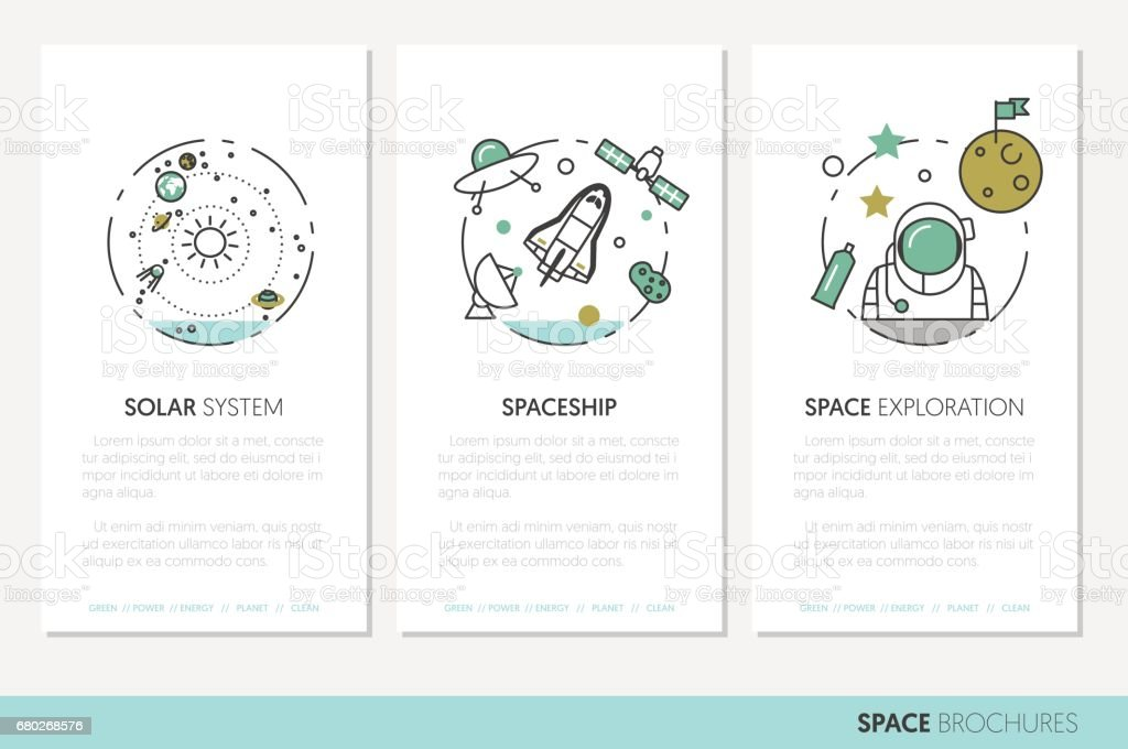 Space Research Business Brochure Template Stock Vector Art More