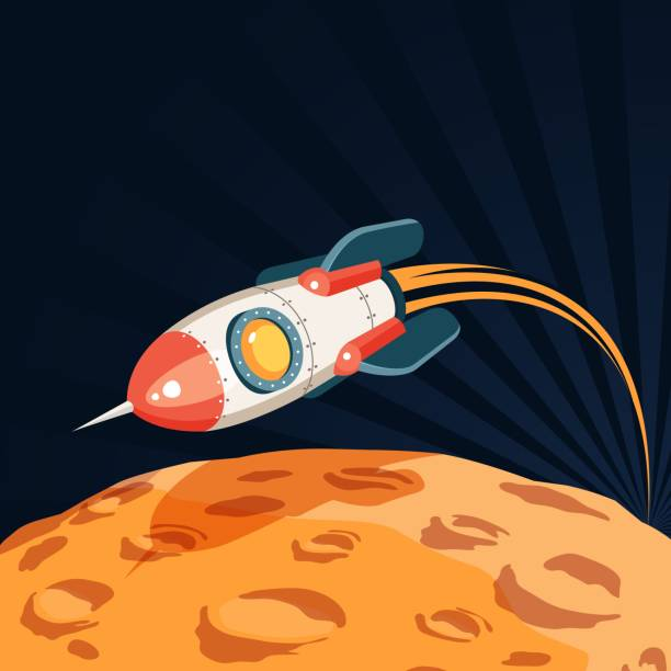 Bекторная иллюстрация Space rocket flies over the surface of the planet like a moon
