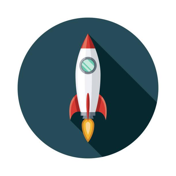 ilustrações, clipart, desenhos animados e ícones de ícone de foguete espacial - foguete espacial