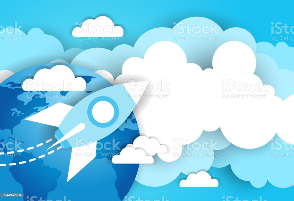 space rocket in sky over blue earth and clouds template background