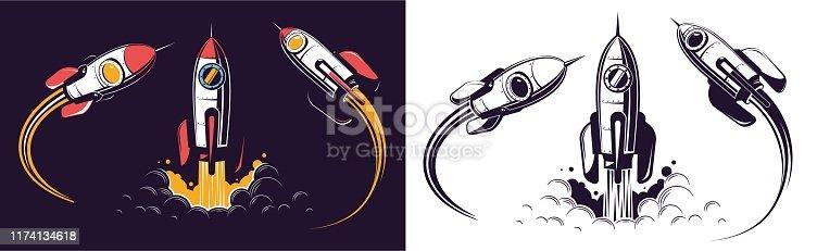 Space rocket launch and flies. Rocketship retro vintage vector illustration.