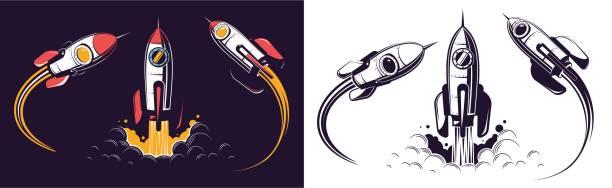 Bекторная иллюстрация Space rocket launch and flies