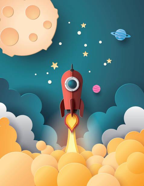 raum-raketenstart und galaxy. - weltall stock-grafiken, -clipart, -cartoons und -symbole