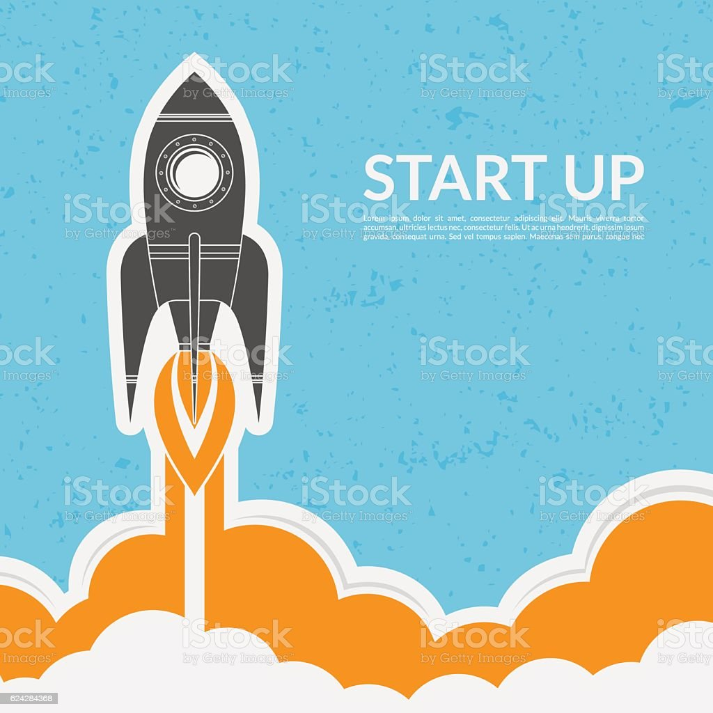 Space rocket launch in vintage style vector art illustration