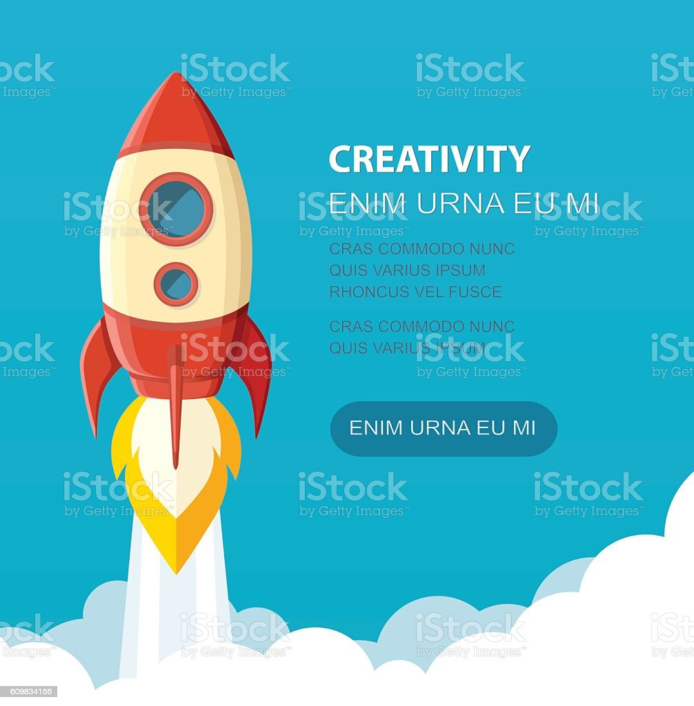 Space rocket launch. Start up concept flat style. Vector illustration. vector art illustration