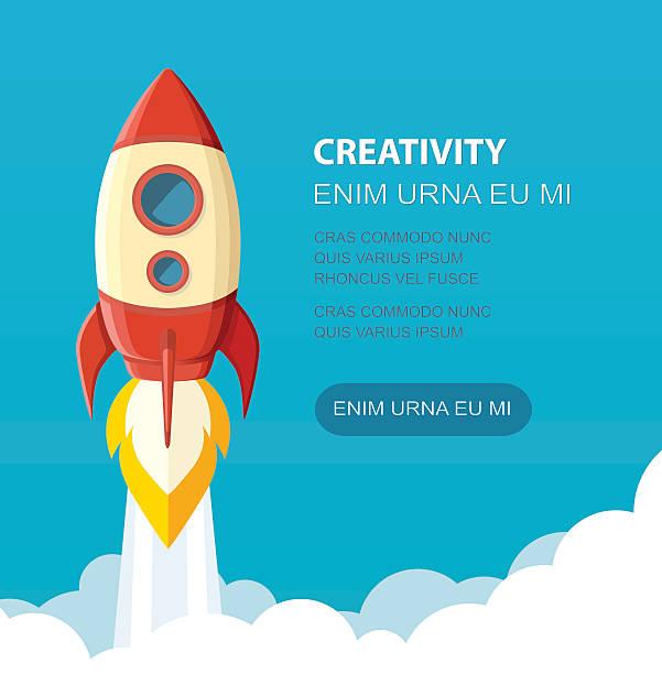 illustrations, cliparts, dessins animés et icônes de spatial de lancement. concept de démarrage à style. illustration de vecteur. - décoller activité