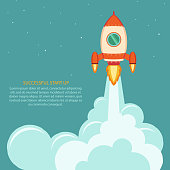 Space rocket launch. Start up