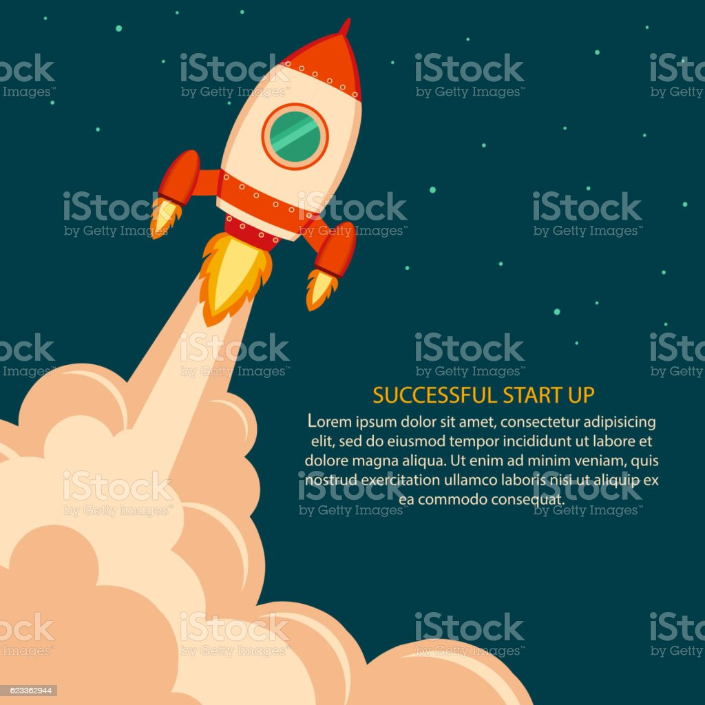Space rocket launch. Start up vector art illustration